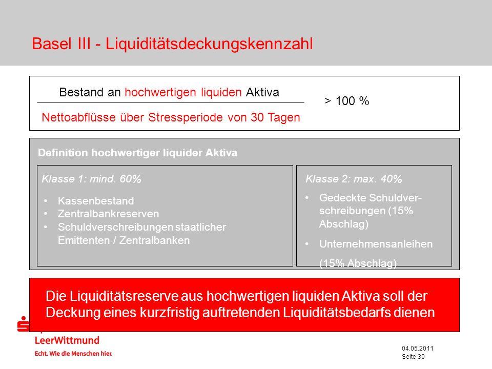 04.05.2011 Seite 30 Bestand an hochwertigen liquiden Aktiva Nettoabflüsse über Stressperiode von 30 Tagen > 100 % Die Liquiditätsreserve aus hochwerti