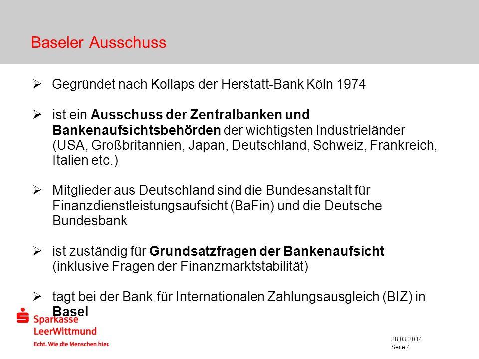 28.03.2014 Seite 5 Basel Chronologie 1988 Veröffentlichung der Baseler Eigenkapitalvereinbarung (Basel I) 1992 Inkrafttreten von Basel I 1996 Baseler Marktrisikopapier 1999 Erstes Konsultationspapier zur Neufassung der Eigenkapitalvereinbarung (Basel II) 2001 Zweites Konsultationspapier zu Basel II 2003 Drittes Konsultationspapier zu Basel II 2004 Veröffentlichung der Rahmenvereinbarung zur neuen Baseler Eigenkapitalempfehlung (Basel II) 2005 Ergänzung der Rahmenvereinbarung um Handelsbuchaspekte und die Behandlung des Doppelausfallrisikos bei Garantien 2006 Inkrafttreten von Basel II 2010 Beschluss Basel III aufgrund Finanzmarktkrise 2013-2019 Inkrafttreten von Basell III (stufenweise)