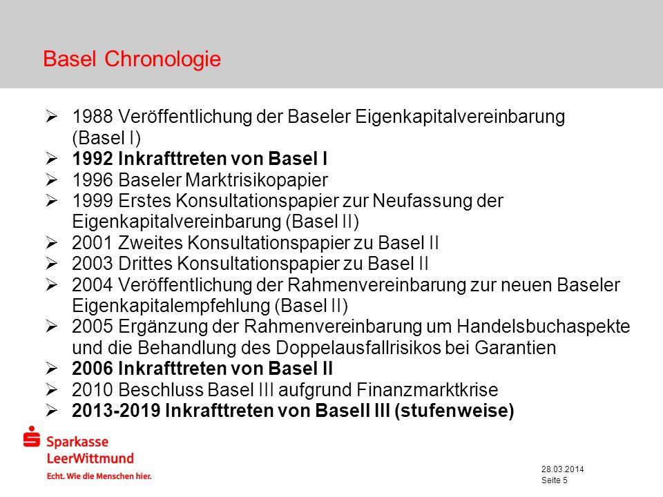 28.03.2014 Seite 5 Basel Chronologie 1988 Veröffentlichung der Baseler Eigenkapitalvereinbarung (Basel I) 1992 Inkrafttreten von Basel I 1996 Baseler