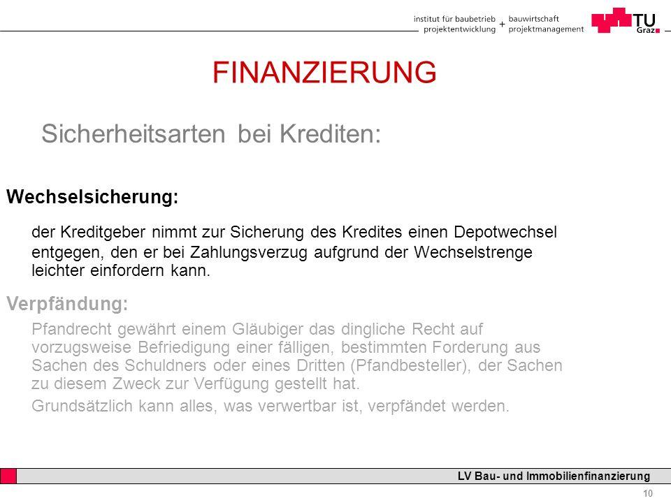 Professor Horst Cerjak, 19.12.2005 10 LV Bau- und Immobilienfinanzierung FINANZIERUNG Sicherheitsarten bei Krediten: Wechselsicherung: der Kreditgeber
