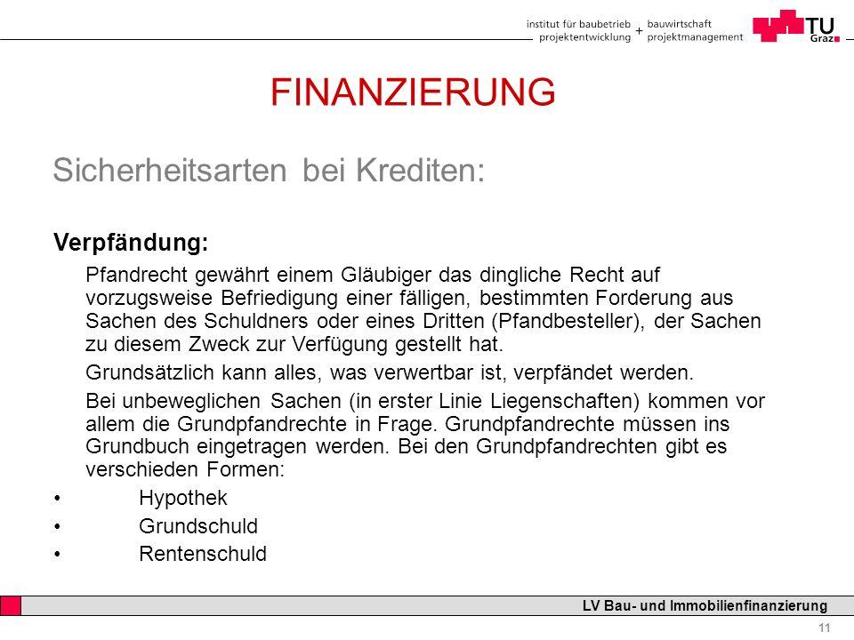 Professor Horst Cerjak, 19.12.2005 11 LV Bau- und Immobilienfinanzierung FINANZIERUNG Sicherheitsarten bei Krediten: Verpfändung: Pfandrecht gewährt e