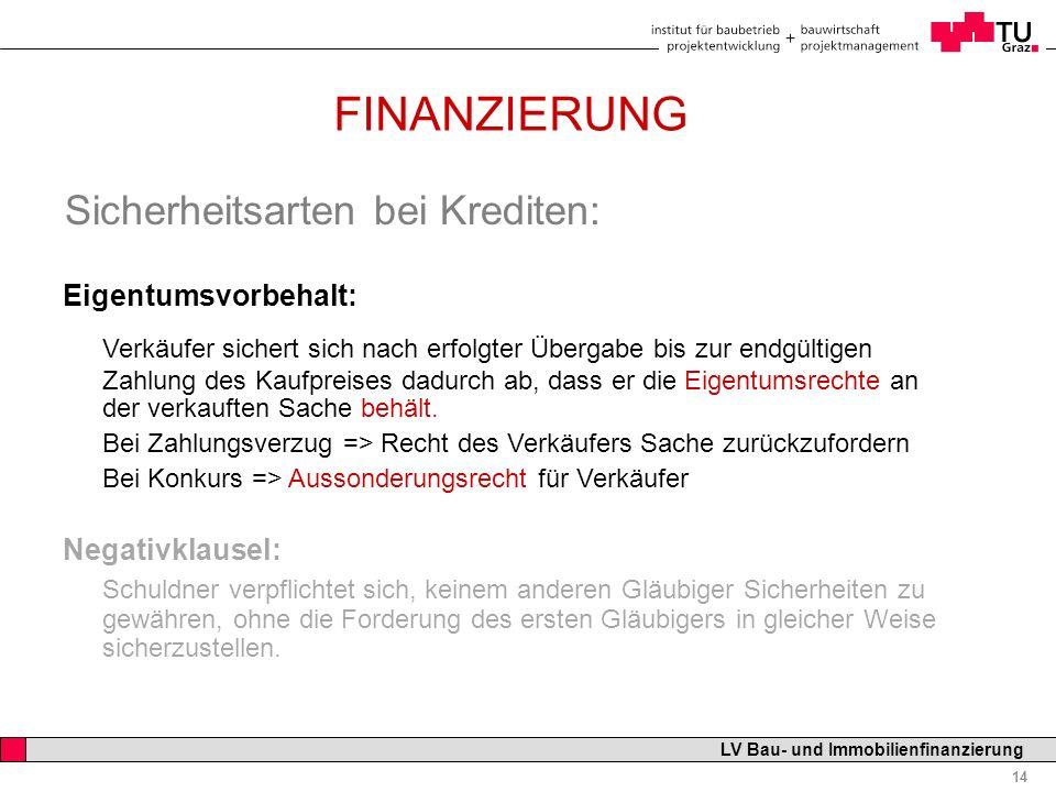 Professor Horst Cerjak, 19.12.2005 14 LV Bau- und Immobilienfinanzierung FINANZIERUNG Sicherheitsarten bei Krediten: Eigentumsvorbehalt: Verkäufer sic