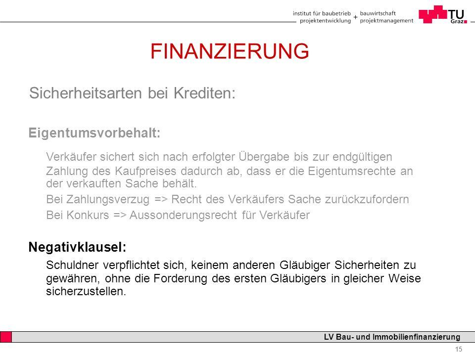 Professor Horst Cerjak, 19.12.2005 15 LV Bau- und Immobilienfinanzierung FINANZIERUNG Sicherheitsarten bei Krediten: Eigentumsvorbehalt: Verkäufer sic