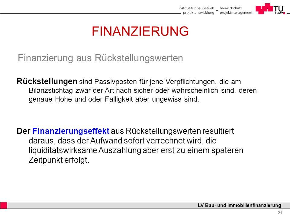 Professor Horst Cerjak, 19.12.2005 21 LV Bau- und Immobilienfinanzierung FINANZIERUNG Finanzierung aus Rückstellungswerten Rückstellungen sind Passivp