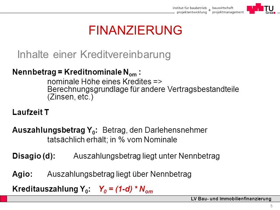 Professor Horst Cerjak, 19.12.2005 5 LV Bau- und Immobilienfinanzierung FINANZIERUNG Inhalte einer Kreditvereinbarung Nennbetrag = Kreditnominale N om