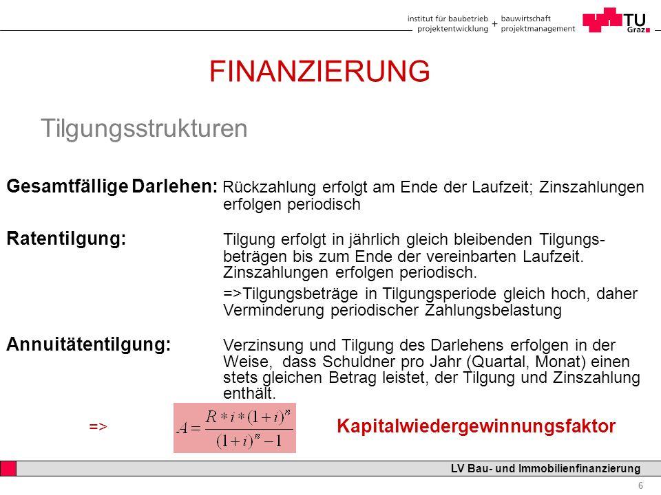 Professor Horst Cerjak, 19.12.2005 7 LV Bau- und Immobilienfinanzierung FINANZIERUNG Die Zinsstruktur Termine der Zinszahlungen: monatlich, quartalsweise, jährlich vorschüssig oder nachschüssig i vor = i / (1 + i); i = i vor / (1 – i vor ) Bezugsgröße: Restschuld = noch nicht getilgter Kreditbetrag Nominalbetrag oder Nennbetrag Zinssatz: fester Zinssatz oder an Variable gekoppelter Zinssatz (z.B.