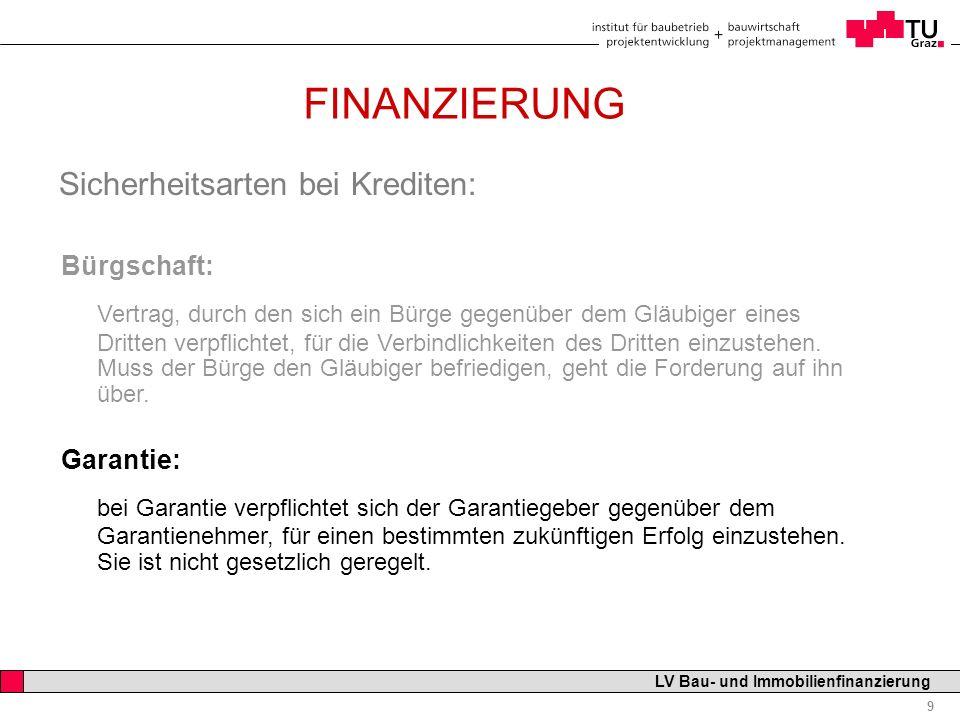 Professor Horst Cerjak, 19.12.2005 9 LV Bau- und Immobilienfinanzierung FINANZIERUNG Sicherheitsarten bei Krediten: Bürgschaft: Vertrag, durch den sic