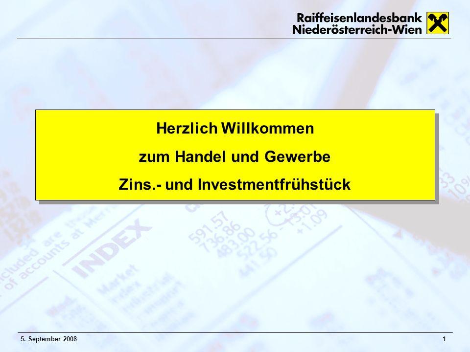 15. September 2008 Herzlich Willkommen zum Handel und Gewerbe Zins.- und Investmentfrühstück