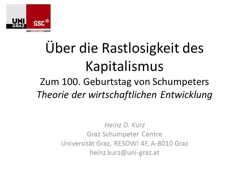 Inhalt 1.Schumpeters Leben und Werk 2.Die Theorie der wirtschaftlichen Entwicklung (a) Der Kreislauf der Wirtschaft (b) Wirtschaftliche Entwicklung: die Rolle des Unternehmers (c) Kredit und Kapital (d) Unternehmergewinn und Zins (e) Krisen und Konjunkturzyklen (f) Entwicklung und Fortschritt 3.Schumpeter und die Anderen (a) JAS und Walras (b) JAS und Marx (c) JAS und Böhm-Bawerk (d) JAS und Keynes 4.Von der Entwicklung zu den Business Cycles 5.Ausblick