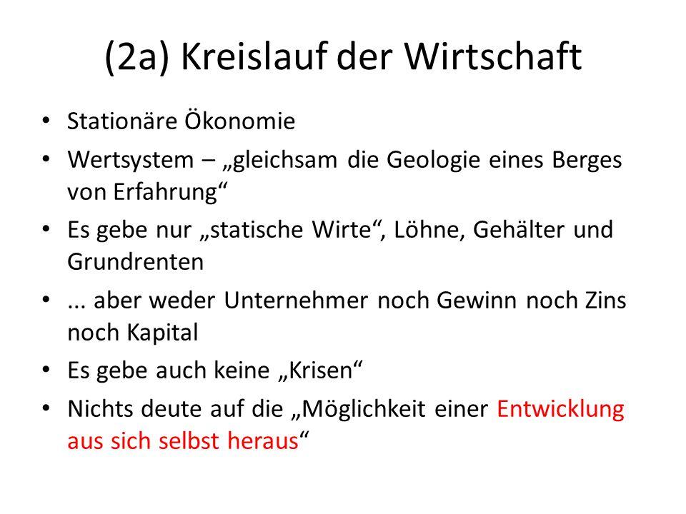 (2a) Kreislauf der Wirtschaft Mit einer Ausnahme sei alle bisherige Theorie statisch: Allein Marx...