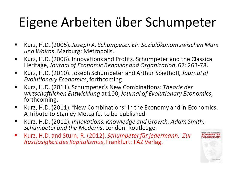 Joseph Alois Schumpeter (1883-1950): Leben und Werk Hauptwerke (Bücher): – Das Wesen und den Hauptinhalt der theoretischen Nationalökonomie (1908) – Theorie der wirtschaftlichen Entwicklung (1911 – im Impressum 1912) – Business Cycles, zwei Bände (1939) – Capitalism, Socialism and Democracy (1942) – History of Economic Analysis (1954)