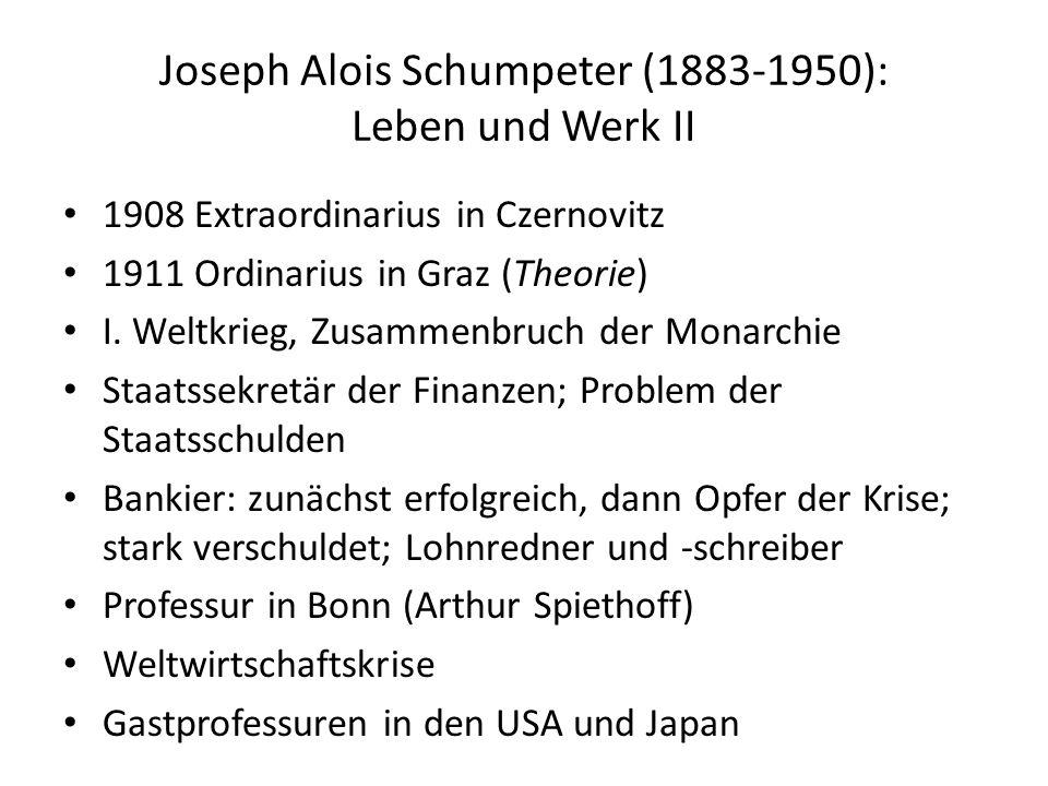 Joseph Alois Schumpeter (1883-1950): Leben und Werk III 1932 Professur an der Harvard University (zu seinen Studenten zählen u.a.