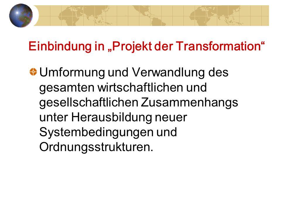 Einbindung in Projekt der Transformation Umformung und Verwandlung des gesamten wirtschaftlichen und gesellschaftlichen Zusammenhangs unter Herausbild