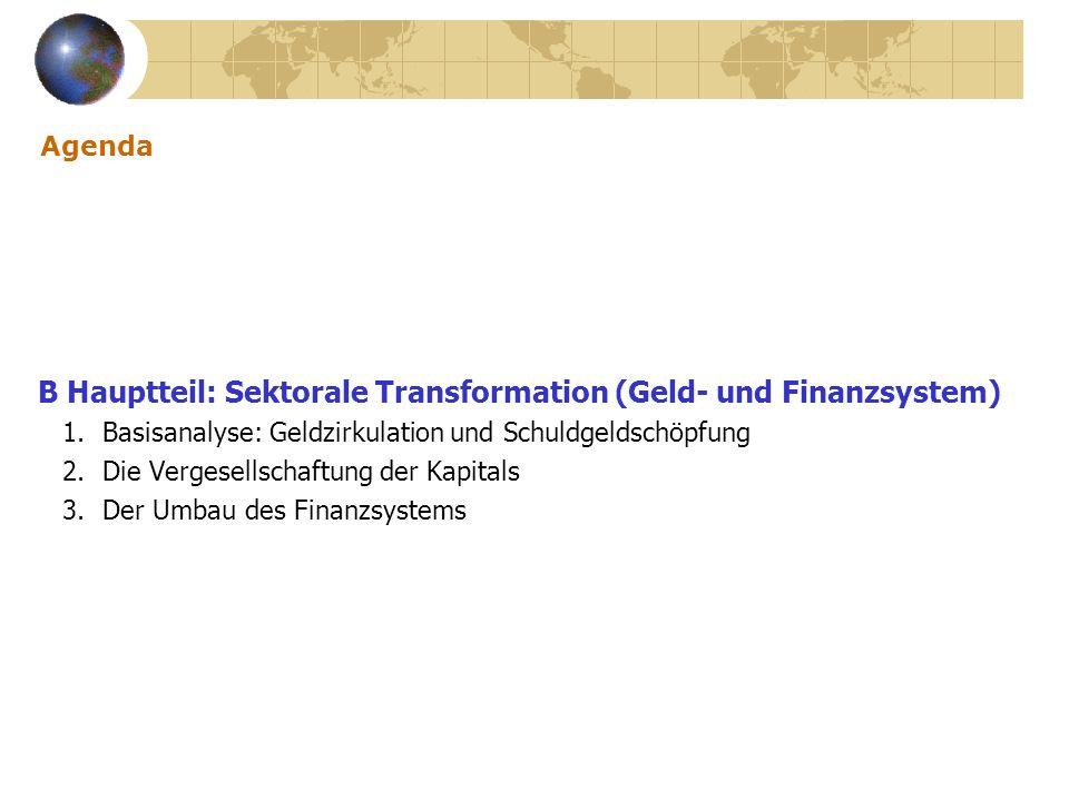 Agenda B Hauptteil: Sektorale Transformation (Geld- und Finanzsystem) 1. Basisanalyse: Geldzirkulation und Schuldgeldschöpfung 2. Die Vergesellschaftu