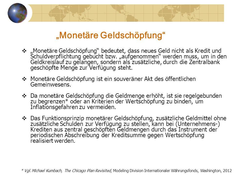 Monetäre Geldschöpfung Monetäre Geldschöpfung bedeutet, dass neues Geld nicht als Kredit und Schuldverpflichtung gebucht bzw. aufgenommen werden muss,