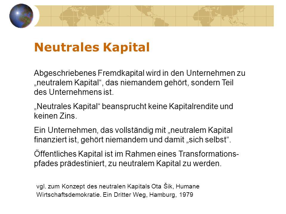 Abgeschriebenes Fremdkapital wird in den Unternehmen zu neutralem Kapital, das niemandem gehört, sondern Teil des Unternehmens ist. Neutrales Kapital