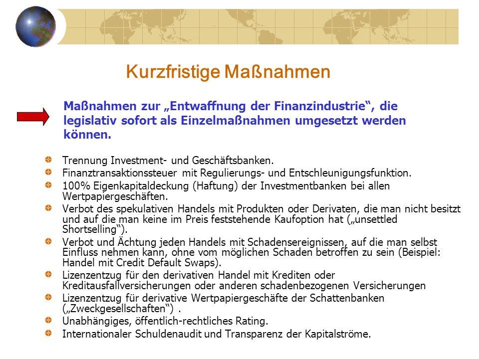 Kurzfristige Maßnahmen Trennung Investment- und Geschäftsbanken. Finanztransaktionssteuer mit Regulierungs- und Entschleunigungsfunktion. 100% Eigenka