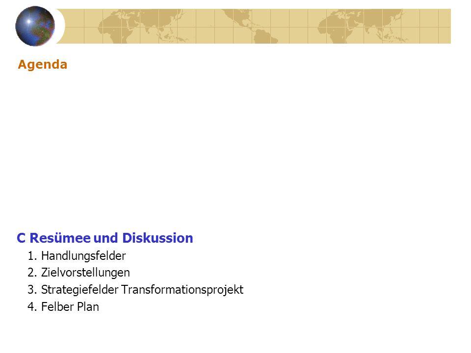 Agenda C Resümee und Diskussion 1. Handlungsfelder 2. Zielvorstellungen 3. Strategiefelder Transformationsprojekt 4. Felber Plan