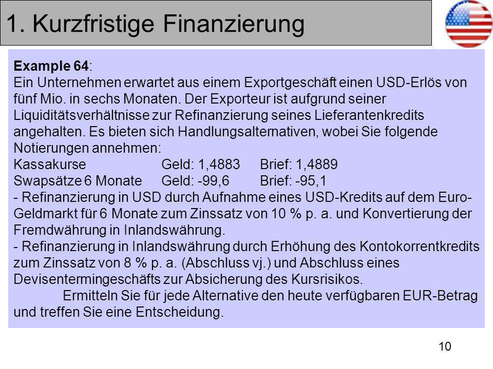 10 1. Kurzfristige Finanzierung Example 64: Ein Unternehmen erwartet aus einem Exportgeschäft einen USD-Erlös von fünf Mio. in sechs Monaten. Der Expo