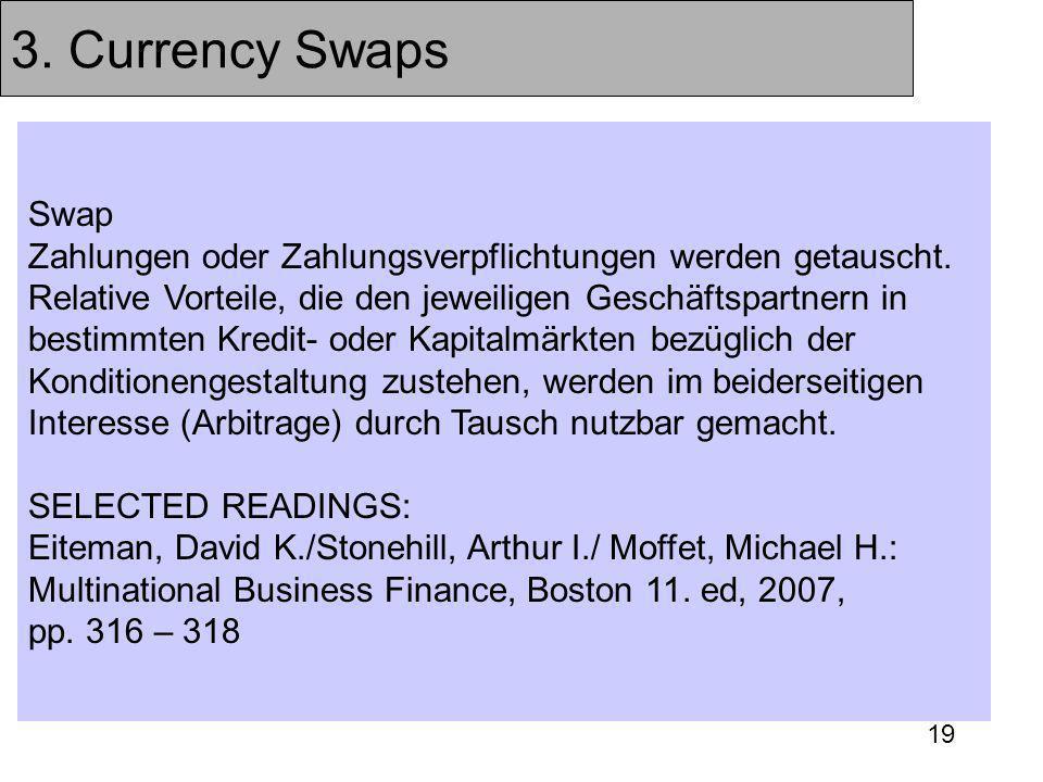 19 3. Currency Swaps Swap Zahlungen oder Zahlungsverpflichtungen werden getauscht. Relative Vorteile, die den jeweiligen Geschäftspartnern in bestimmt