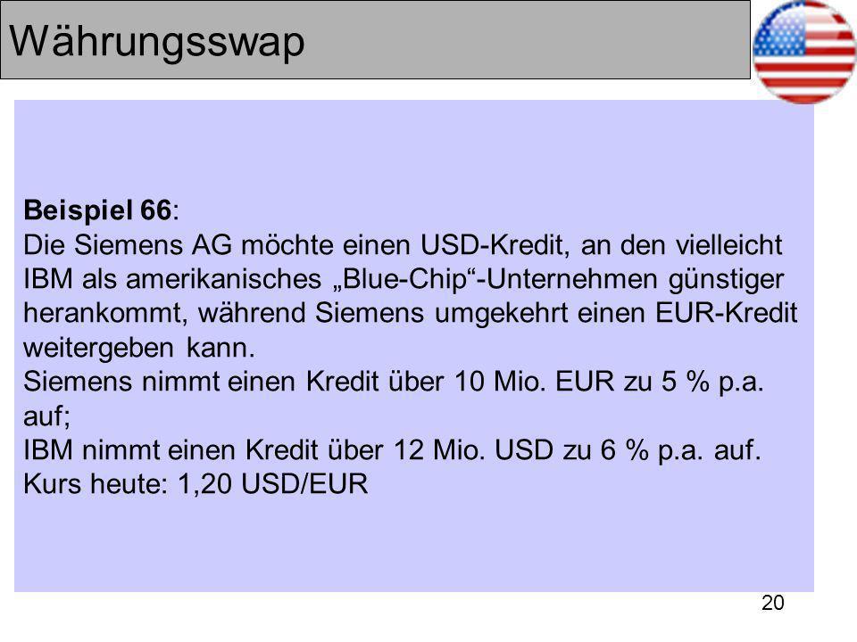20 Währungsswap Beispiel 66: Die Siemens AG möchte einen USD-Kredit, an den vielleicht IBM als amerikanisches Blue-Chip-Unternehmen günstiger herankommt, während Siemens umgekehrt einen EUR-Kredit weitergeben kann.