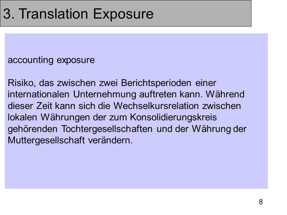 8 3. Translation Exposure accounting exposure Risiko, das zwischen zwei Berichtsperioden einer internationalen Unternehmung auftreten kann. Während di