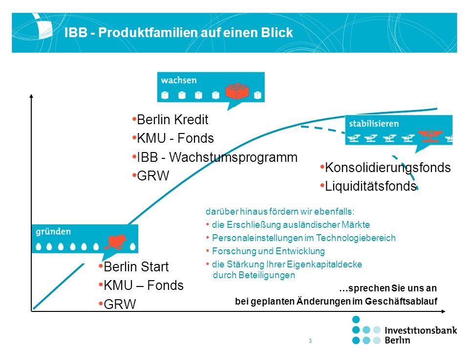 3 IBB - Produktfamilien auf einen Blick Berlin Start KMU – Fonds GRW Berlin Kredit KMU - Fonds IBB - Wachstumsprogramm GRW Konsolidierungsfonds Liquid