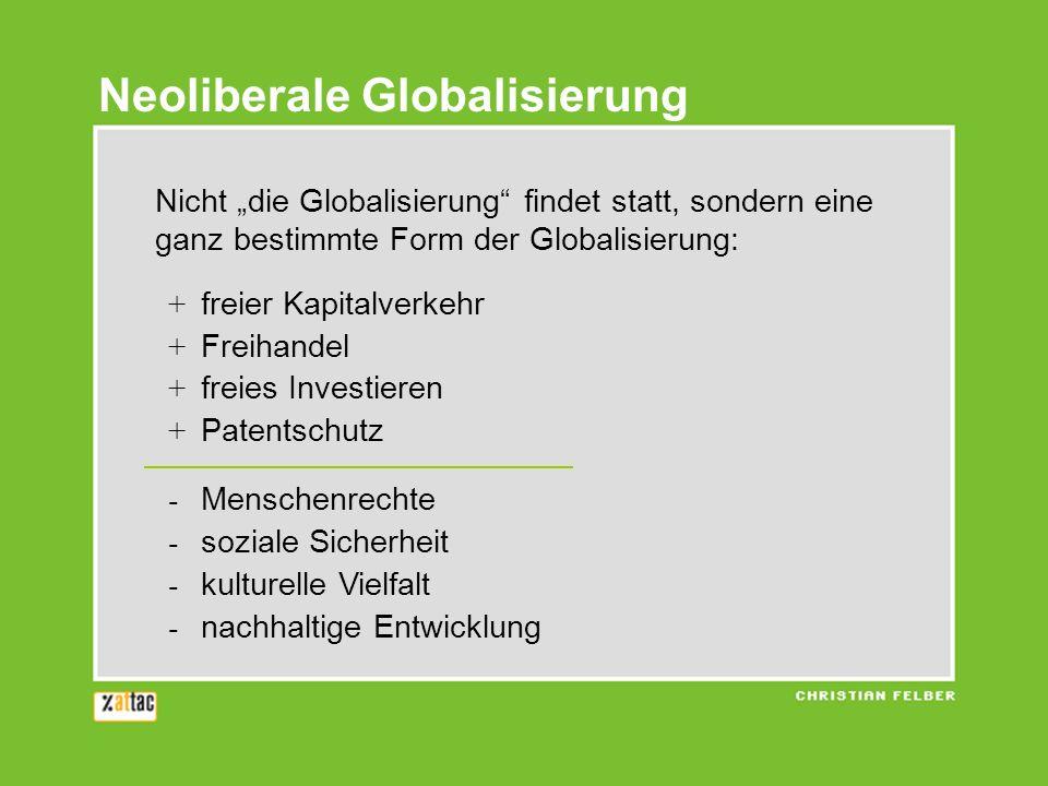 Neoliberale Globalisierung Nicht die Globalisierung findet statt, sondern eine ganz bestimmte Form der Globalisierung: + freier Kapitalverkehr + Freihandel + freies Investieren + Patentschutz - Menschenrechte - soziale Sicherheit - kulturelle Vielfalt - nachhaltige Entwicklung