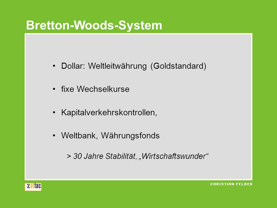 Dollar: Weltleitwährung (Goldstandard) fixe Wechselkurse Kapitalverkehrskontrollen, Weltbank, Währungsfonds > 30 Jahre Stabilität, Wirtschaftswunder Bretton-Woods-System