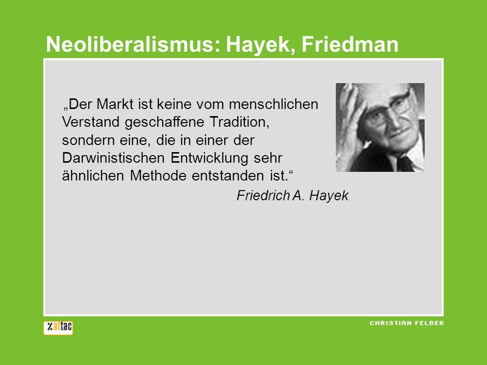 Der Markt ist keine vom menschlichen Verstand geschaffene Tradition, sondern eine, die in einer der Darwinistischen Entwicklung sehr ähnlichen Methode entstanden ist.