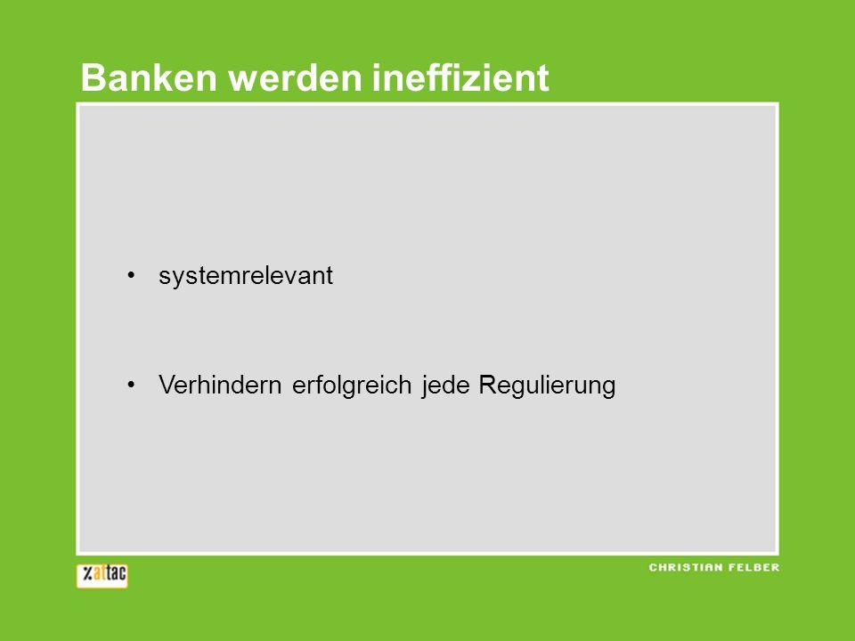systemrelevant Verhindern erfolgreich jede Regulierung Banken werden ineffizient