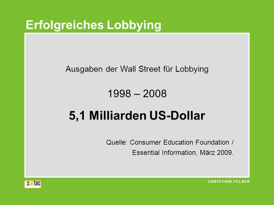 Ausgaben der Wall Street für Lobbying 1998 – 2008 5,1 Milliarden US-Dollar Quelle: Consumer Education Foundation / Essential Information, März 2009.
