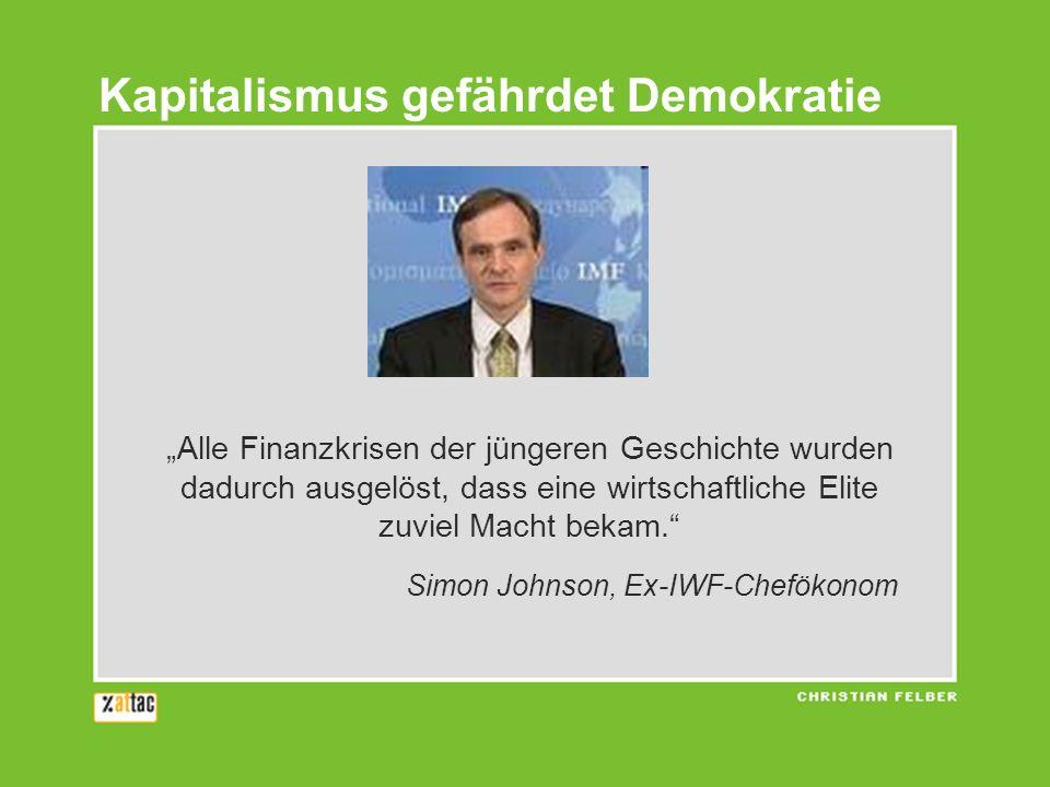 Alle Finanzkrisen der jüngeren Geschichte wurden dadurch ausgelöst, dass eine wirtschaftliche Elite zuviel Macht bekam. Simon Johnson, Ex-IWF-Chefökon