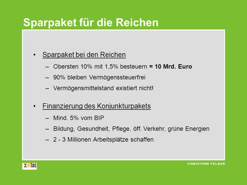 Sparpaket bei den Reichen –Obersten 10% mit 1,5% besteuern = 10 Mrd. Euro –90% bleiben Vermögenssteuerfrei –Vermögensmittelstand existiert nicht! Fina