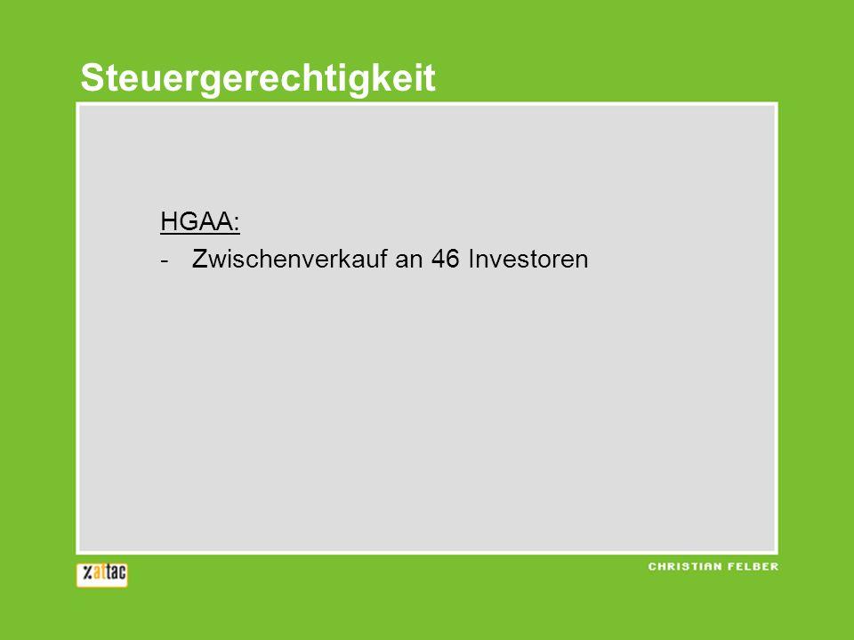 HGAA: -Zwischenverkauf an 46 Investoren Steuergerechtigkeit