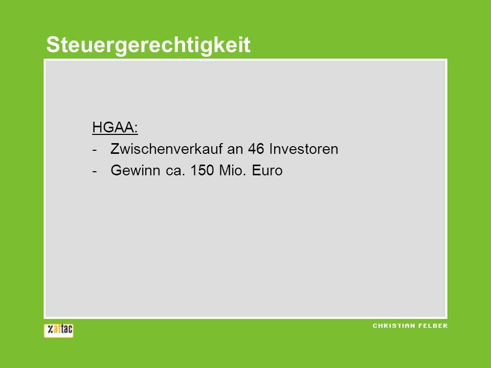 HGAA: -Zwischenverkauf an 46 Investoren -Gewinn ca. 150 Mio. Euro Steuergerechtigkeit