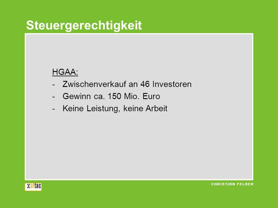 HGAA: -Zwischenverkauf an 46 Investoren -Gewinn ca. 150 Mio. Euro -Keine Leistung, keine Arbeit Steuergerechtigkeit