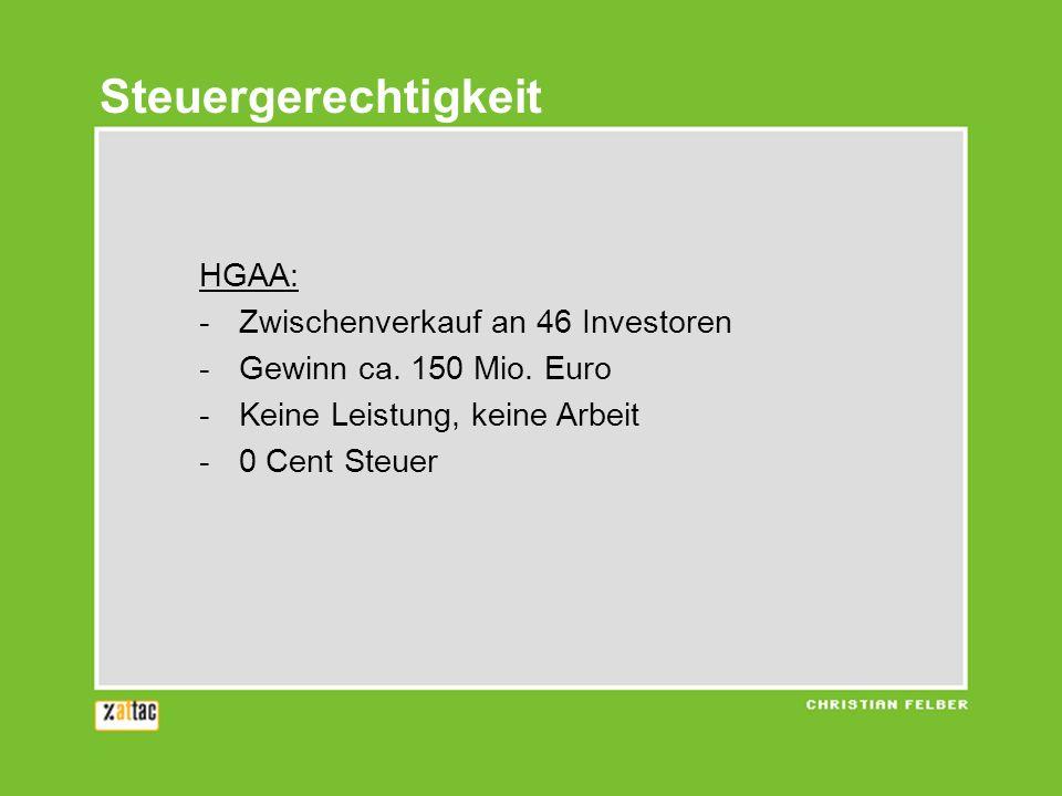 HGAA: -Zwischenverkauf an 46 Investoren -Gewinn ca. 150 Mio. Euro -Keine Leistung, keine Arbeit -0 Cent Steuer Steuergerechtigkeit