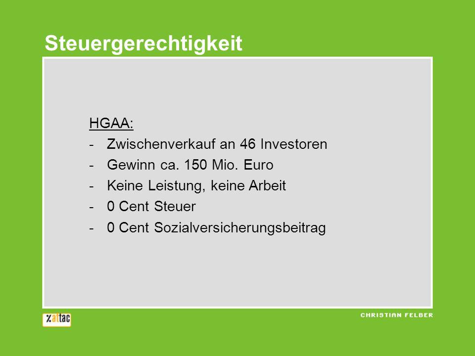 HGAA: -Zwischenverkauf an 46 Investoren -Gewinn ca. 150 Mio. Euro -Keine Leistung, keine Arbeit -0 Cent Steuer -0 Cent Sozialversicherungsbeitrag Steu