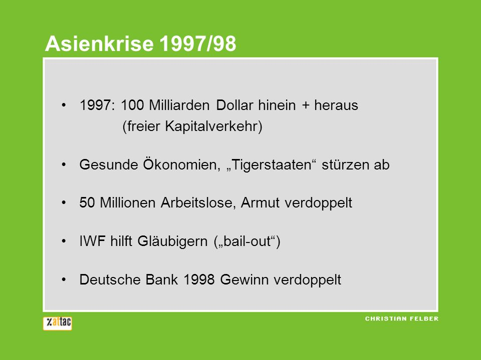 1997: 100 Milliarden Dollar hinein + heraus (freier Kapitalverkehr) Gesunde Ökonomien, Tigerstaaten stürzen ab 50 Millionen Arbeitslose, Armut verdoppelt IWF hilft Gläubigern (bail-out) Deutsche Bank 1998 Gewinn verdoppelt Asienkrise 1997/98