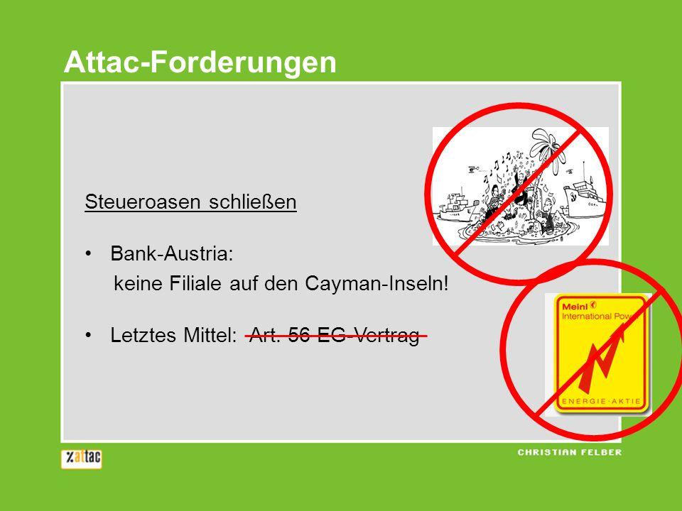 Steueroasen schließen Bank-Austria: keine Filiale auf den Cayman-Inseln! Letztes Mittel: Art. 56 EG-Vertrag Attac-Forderungen
