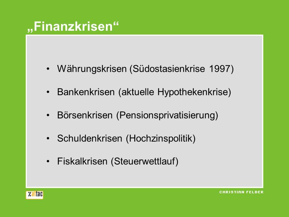 Währungskrisen (Südostasienkrise 1997) Bankenkrisen (aktuelle Hypothekenkrise) Börsenkrisen (Pensionsprivatisierung) Schuldenkrisen (Hochzinspolitik) Fiskalkrisen (Steuerwettlauf) Finanzkrisen