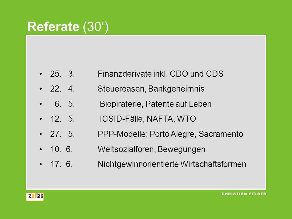 25.3.Finanzderivate inkl. CDO und CDS 22. 4.Steueroasen, Bankgeheimnis 6.