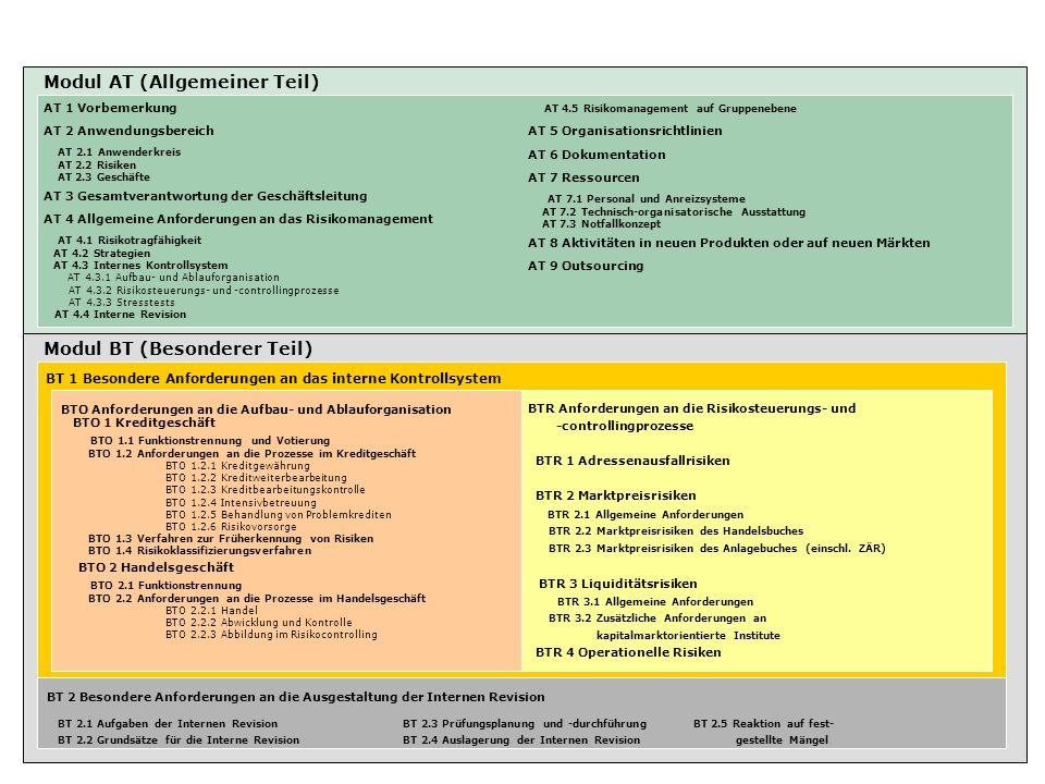 Modul AT (Allgemeiner Teil) Modul BT (Besonderer Teil) BT 1 Besondere Anforderungen an das interne Kontrollsystem AT 1 Vorbemerkung AT 2 Anwendungsber