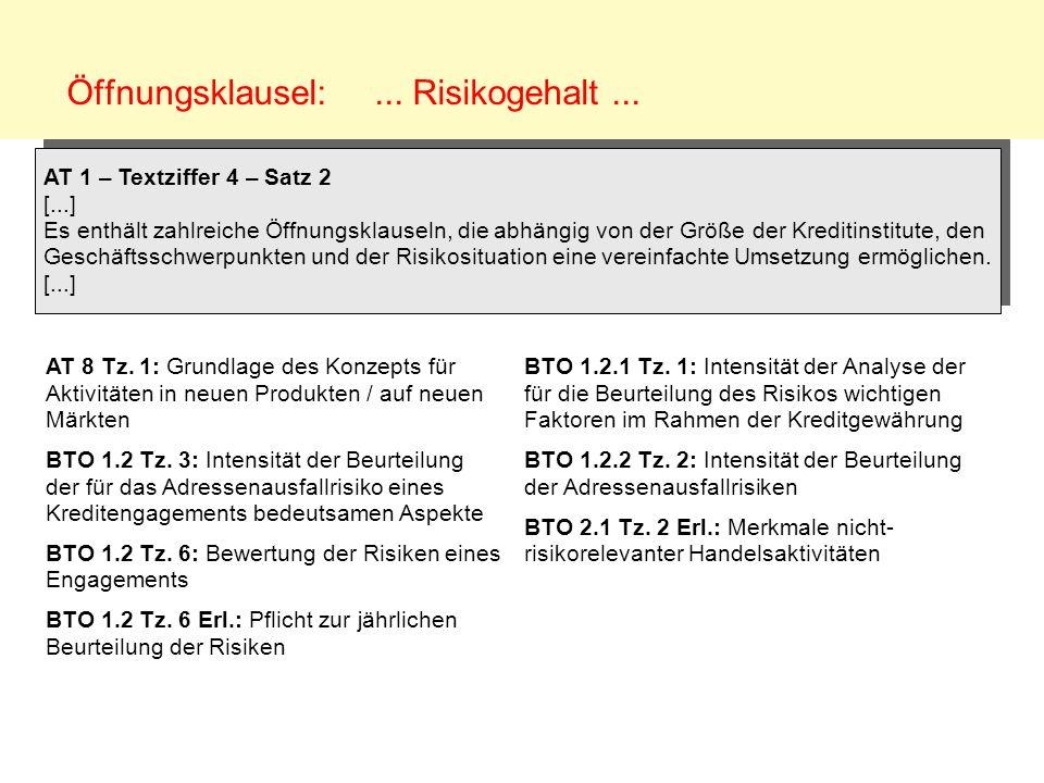 Öffnungsklausel:... Risikogehalt... AT 8 Tz. 1: Grundlage des Konzepts für Aktivitäten in neuen Produkten / auf neuen Märkten BTO 1.2 Tz. 3: Intensitä