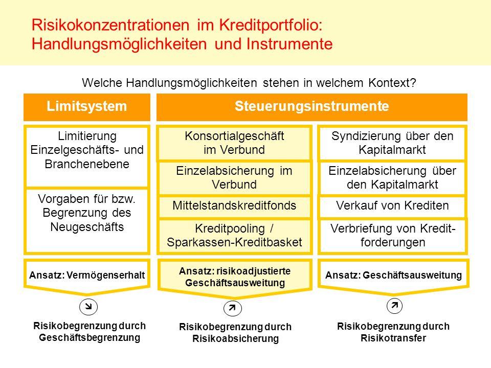 Risikokonzentrationen im Kreditportfolio: Handlungsmöglichkeiten und Instrumente Limitierung Einzelgeschäfts- und Branchenebene LimitsystemSteuerungsi