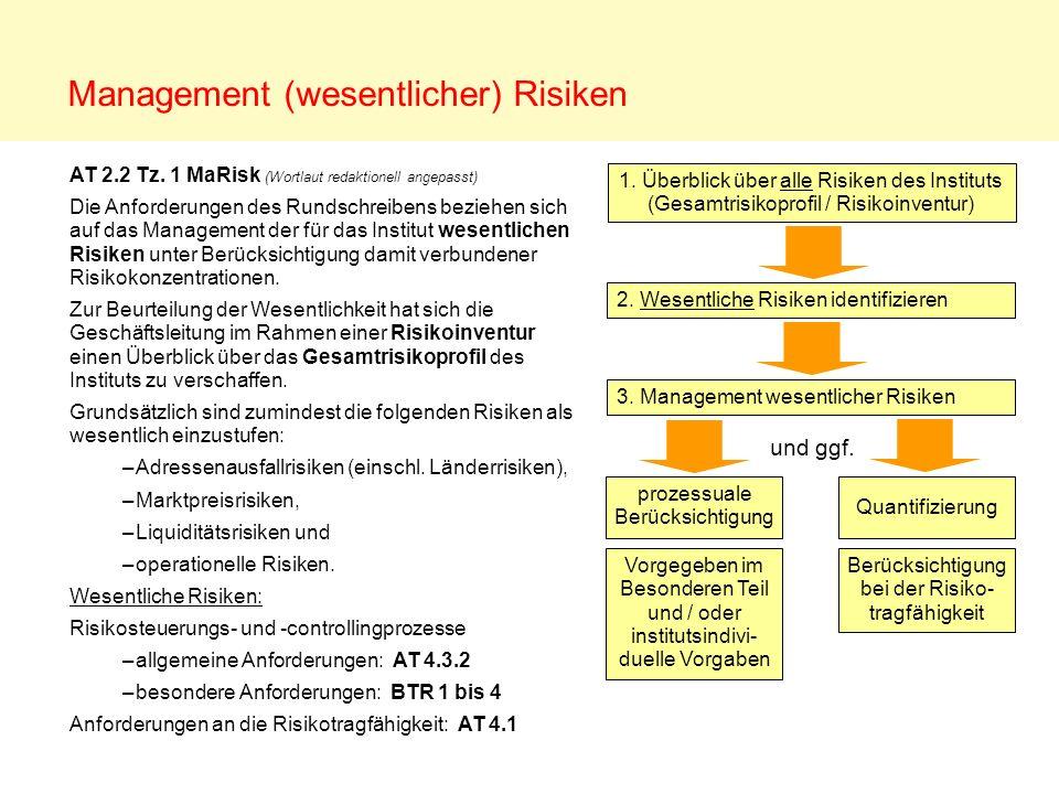 Management (wesentlicher) Risiken AT 2.2 Tz. 1 MaRisk (Wortlaut redaktionell angepasst) Die Anforderungen des Rundschreibens beziehen sich auf das Man