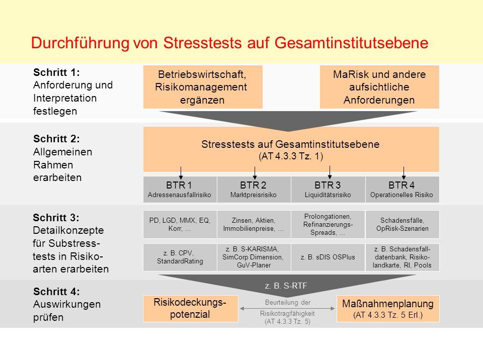 Schritt 1: Anforderung und Interpretation festlegen Schritt 2: Allgemeinen Rahmen erarbeiten Durchführung von Stresstests auf Gesamtinstitutsebene Sch