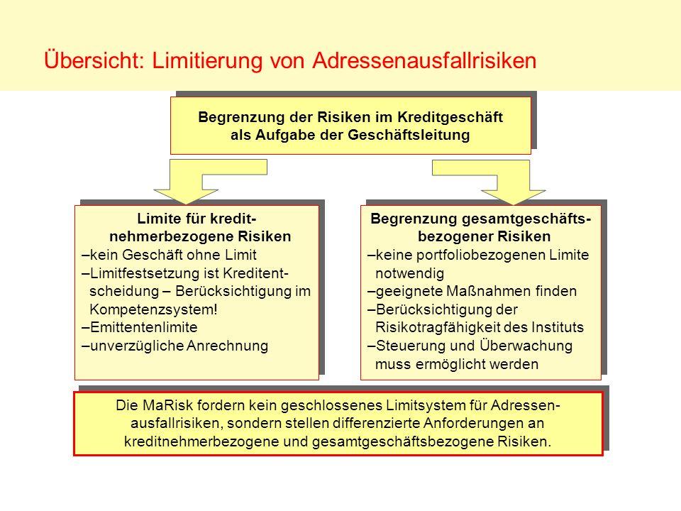 Übersicht: Limitierung von Adressenausfallrisiken Die MaRisk fordern kein geschlossenes Limitsystem für Adressen- ausfallrisiken, sondern stellen diff