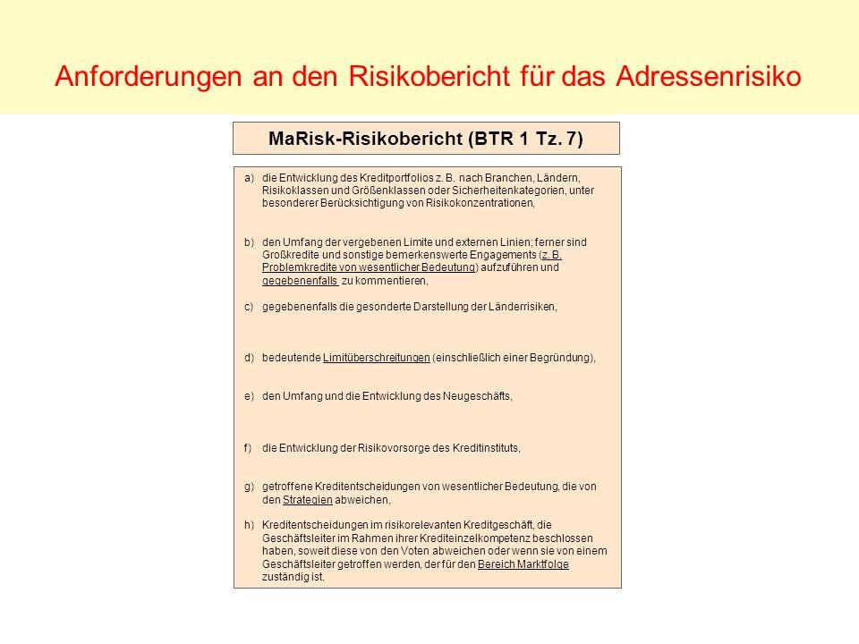 Anforderungen an den Risikobericht für das Adressenrisiko MaRisk-Risikobericht (BTR 1 Tz. 7) a)die Entwicklung des Kreditportfolios z. B. nach Branche